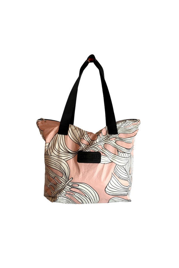 Salt + Sea Zipper Tote  Pink Monstera