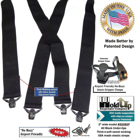 "Holdup Brand Hidden 2"" wide Black undergarment soft X-back suspenders with Jumbo Gripper Clasps"