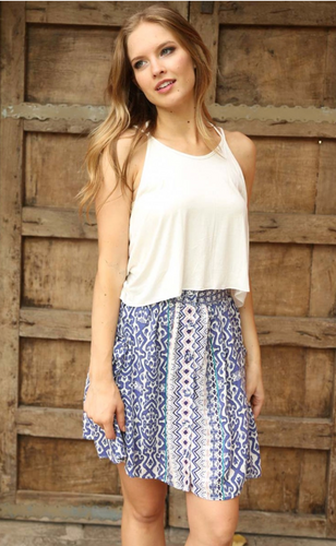 Button Front Blue Skirt - The GyPsY Barn Boutique