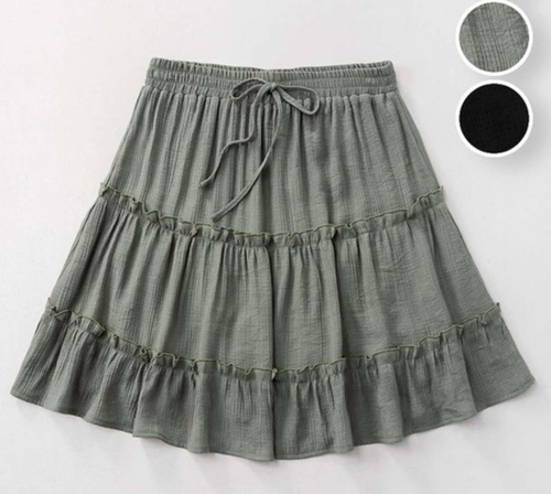 Gauze Tiered Skirt - Olive - The GyPsY Barn Boutique