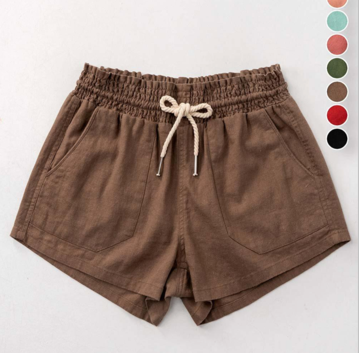 Rope Draw String Linen Shorts - Mocha