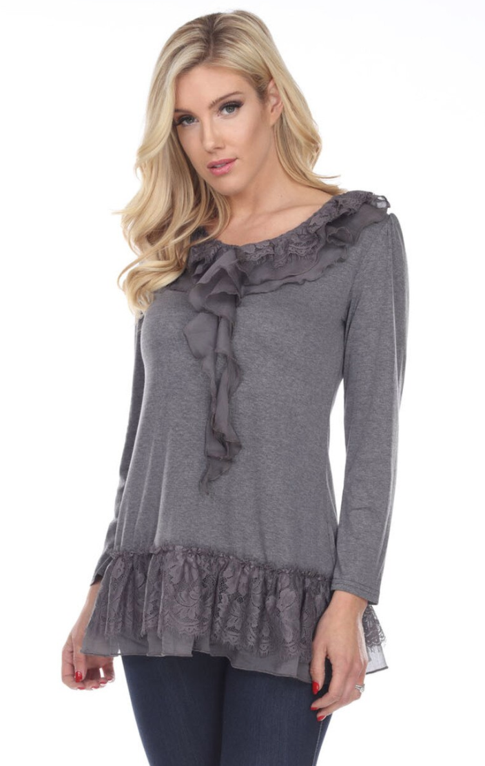 Charcoal Ruffle Top