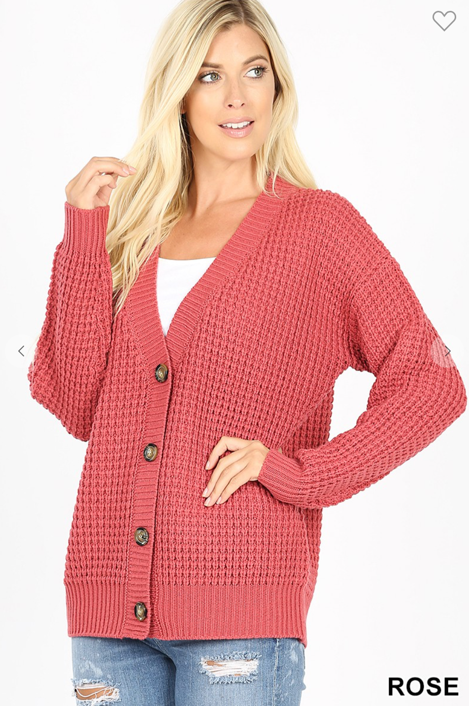 Button Down Cardi Rose