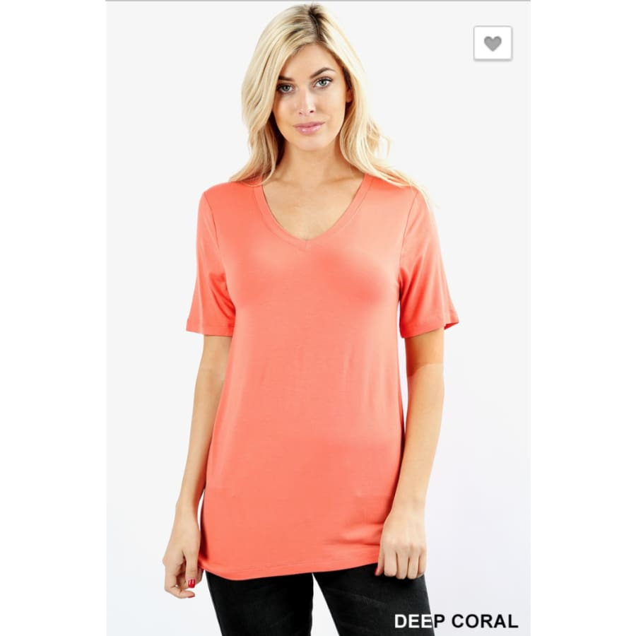 Basic Dp Coral V Neck - The GyPsY Barn Boutique
