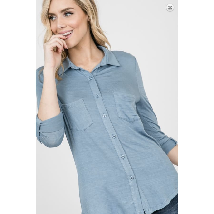 Blue Button Up Roll Up sleeves - The GyPsY Barn Boutique