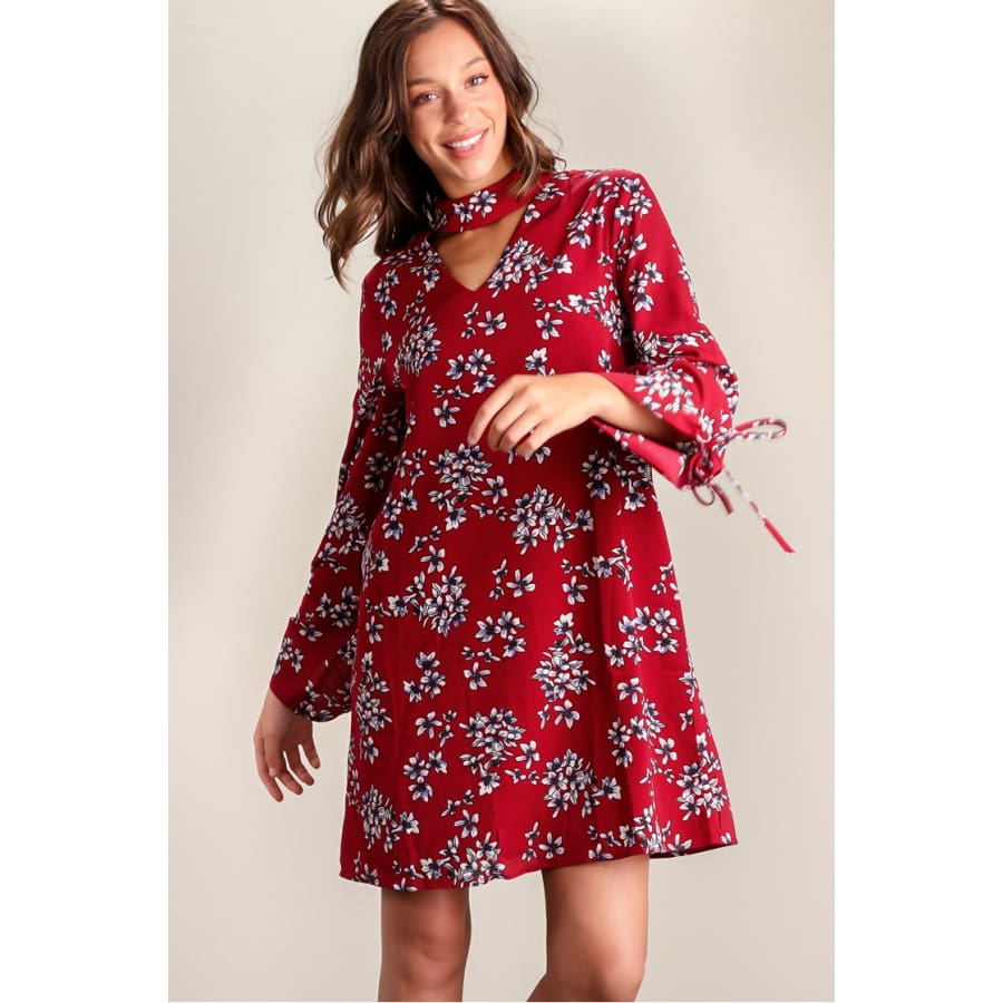 Burg Lined Floral Choker Dress - The GyPsY Barn Boutique