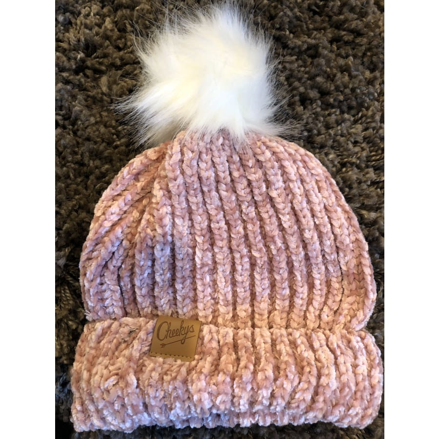 Chenille Cheeky Beanie Pink - The GyPsY Barn Boutique