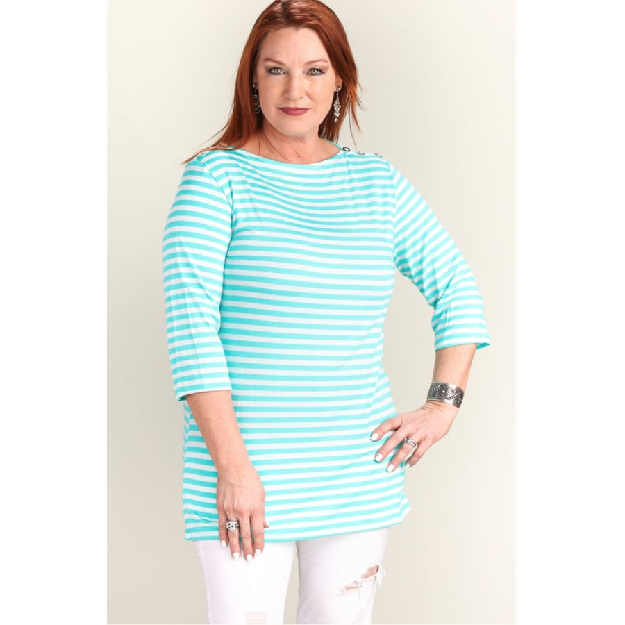 Curvy Aqua Stripe - The GyPsY Barn Boutique