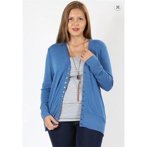 Curvy Snap Cardi Blue Mist - The GyPsY Barn Boutique
