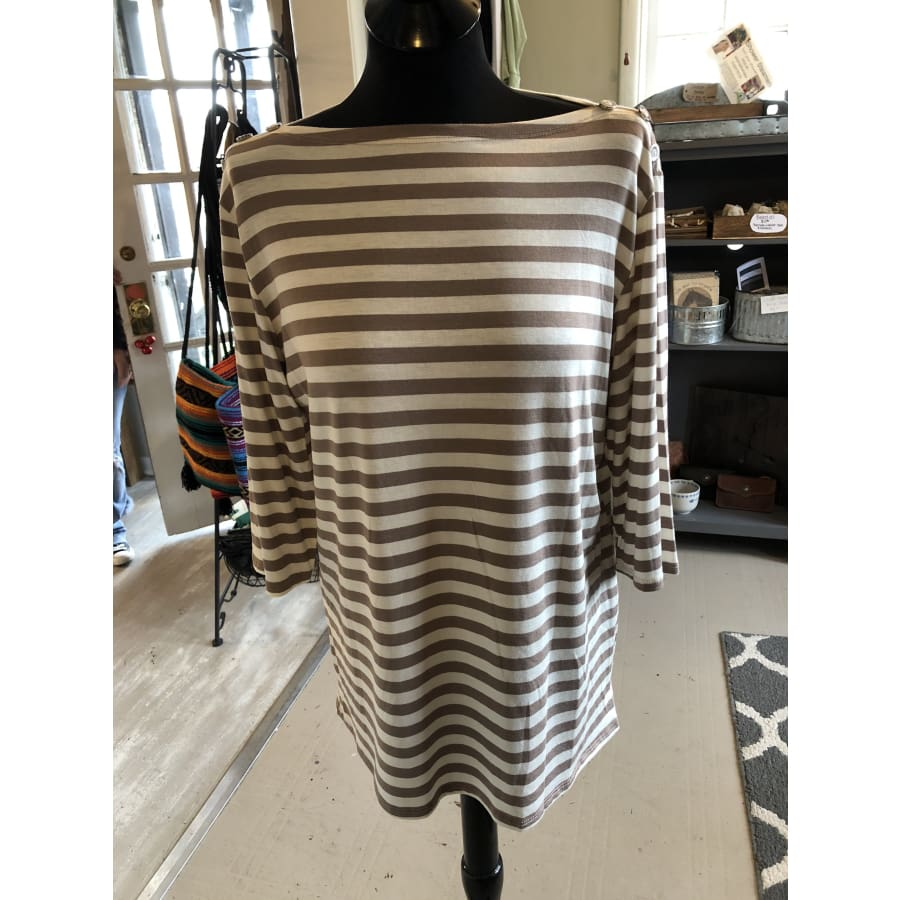 Curvy Taupe Striped - The GyPsY Barn Boutique