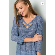 CY Knit cage Navy top - The GyPsY Barn Boutique