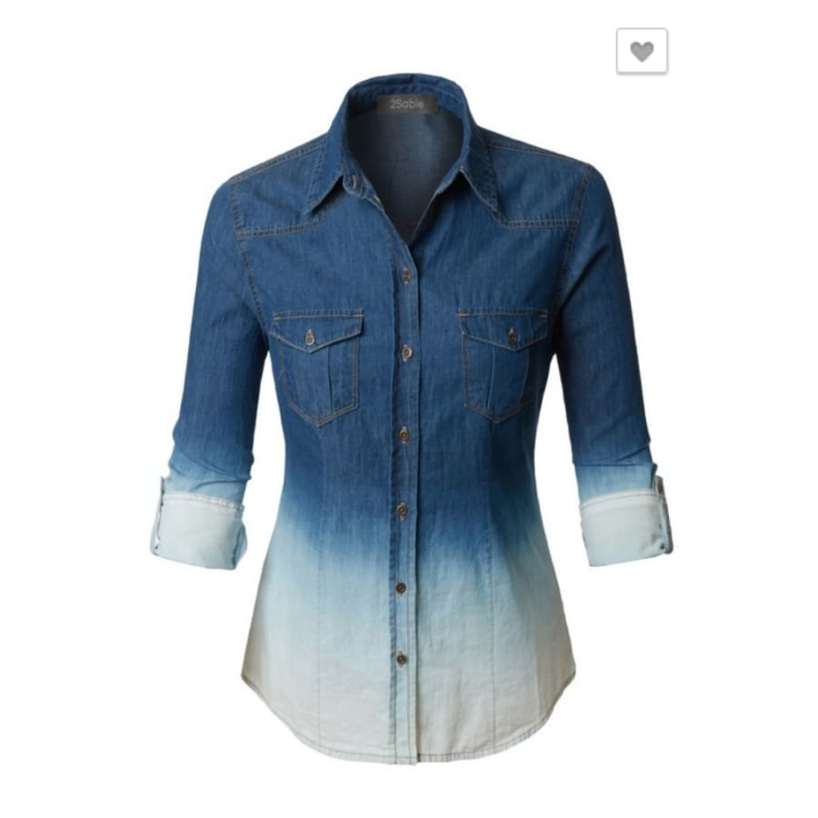 Distressed Denim Top - Small - Tops