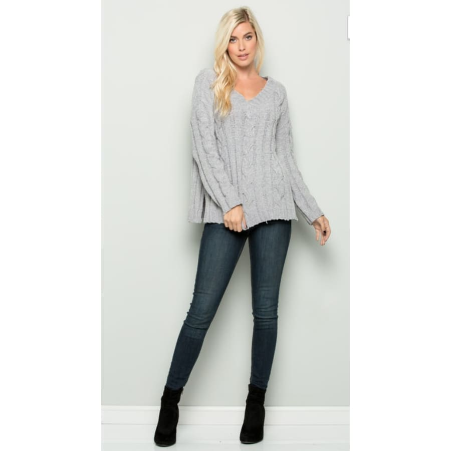 H Gray V Neck Sweater - The GyPsY Barn Boutique