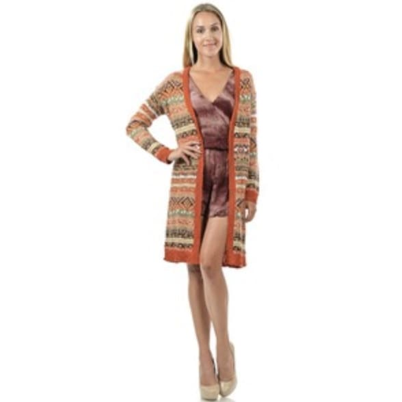 Ikat Knee Length Sweater - The GyPsY Barn Boutique