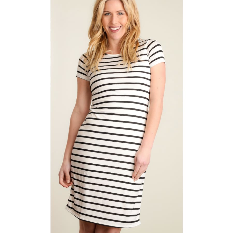 Ivory/Blk Stripe Dress - The GyPsY Barn Boutique
