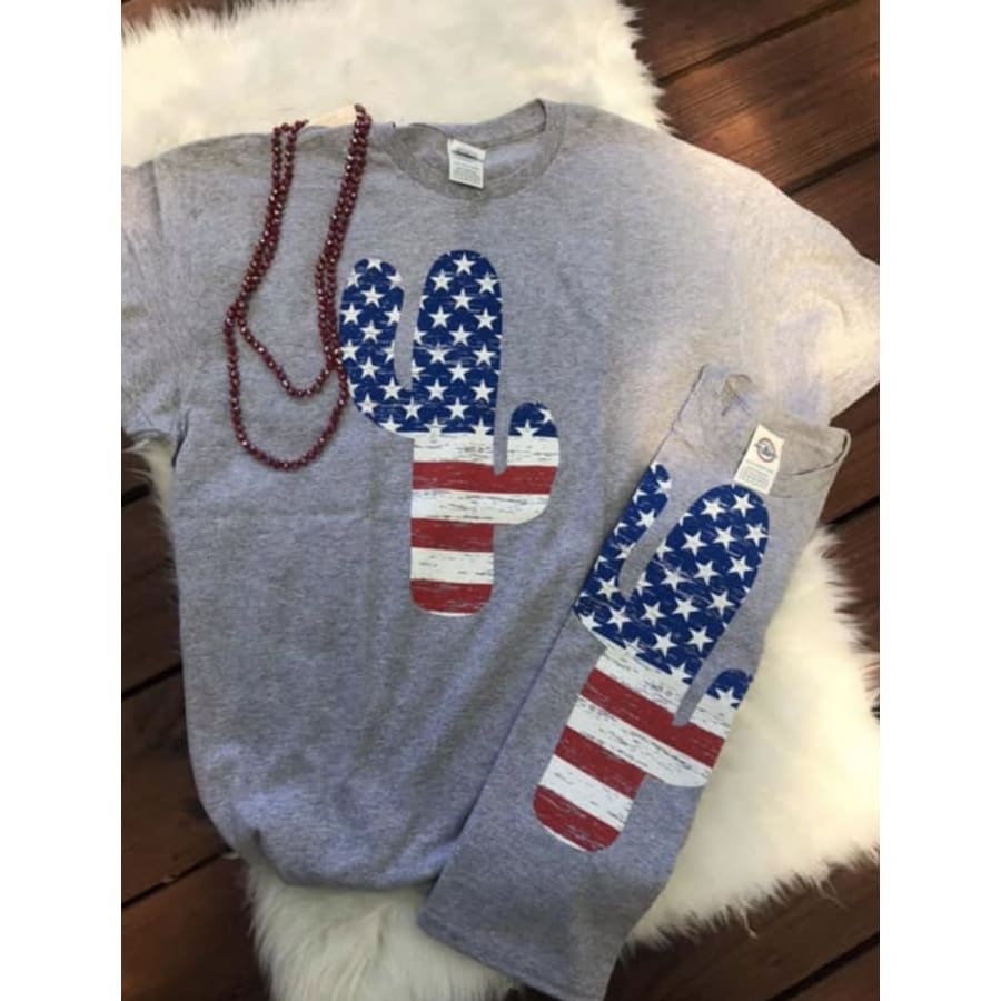 Patriotic Cactus Tee - The GyPsY Barn Boutique