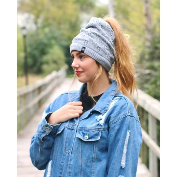 PS Heavy Messy Bun Beanie - The GyPsY Barn Boutique