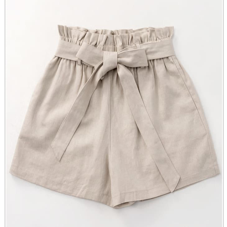 Ribbon Shorts Taupe - The GyPsY Barn Boutique