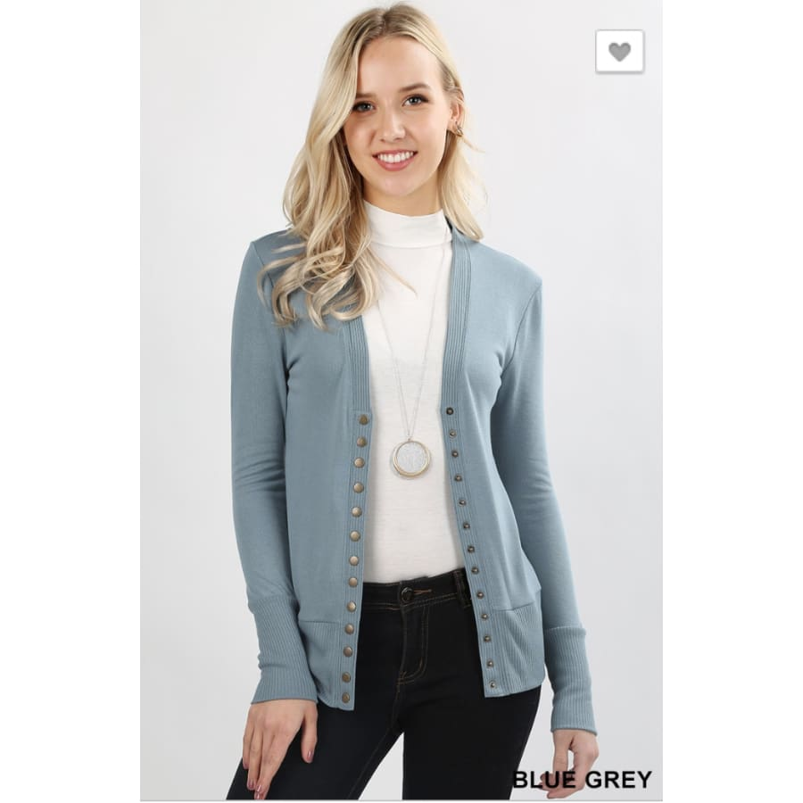 Snap Button Cardi Blue Gray - The GyPsY Barn Boutique