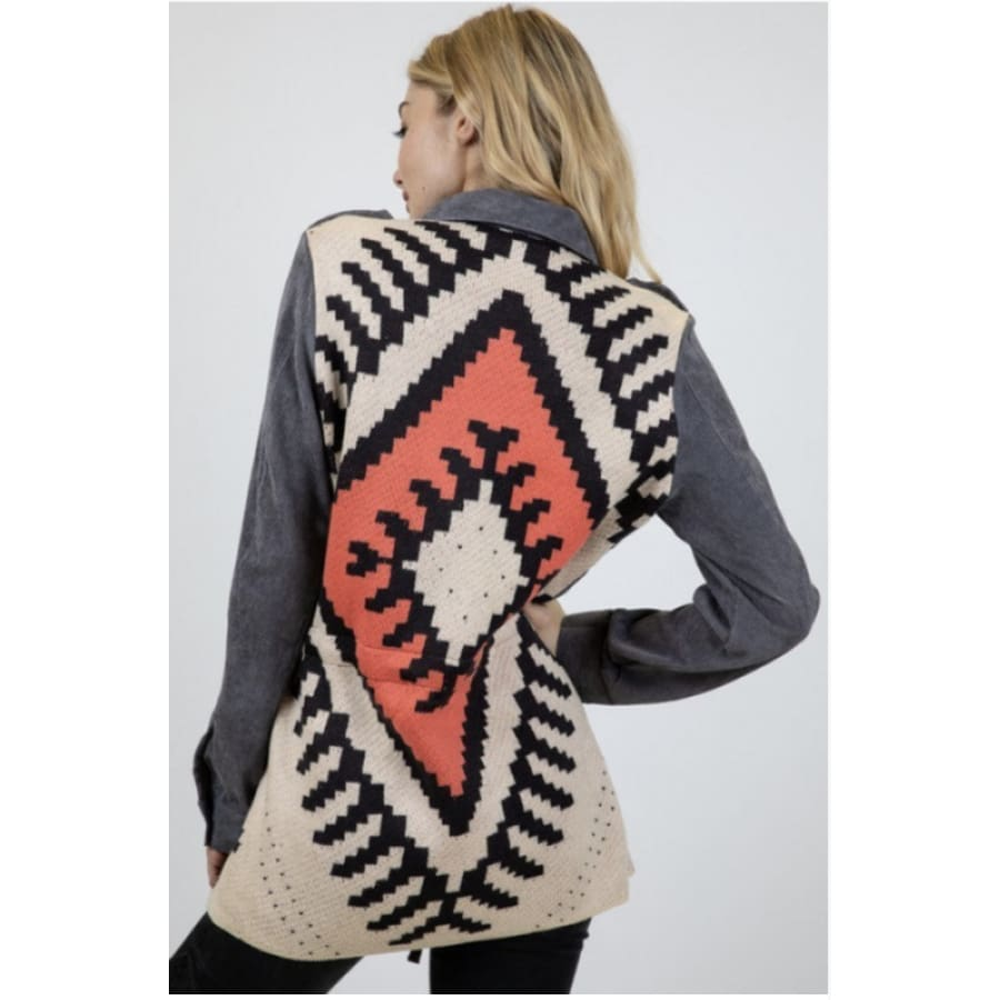 Stone Washed Aztec Jacket - Grey - The GyPsY Barn Boutique