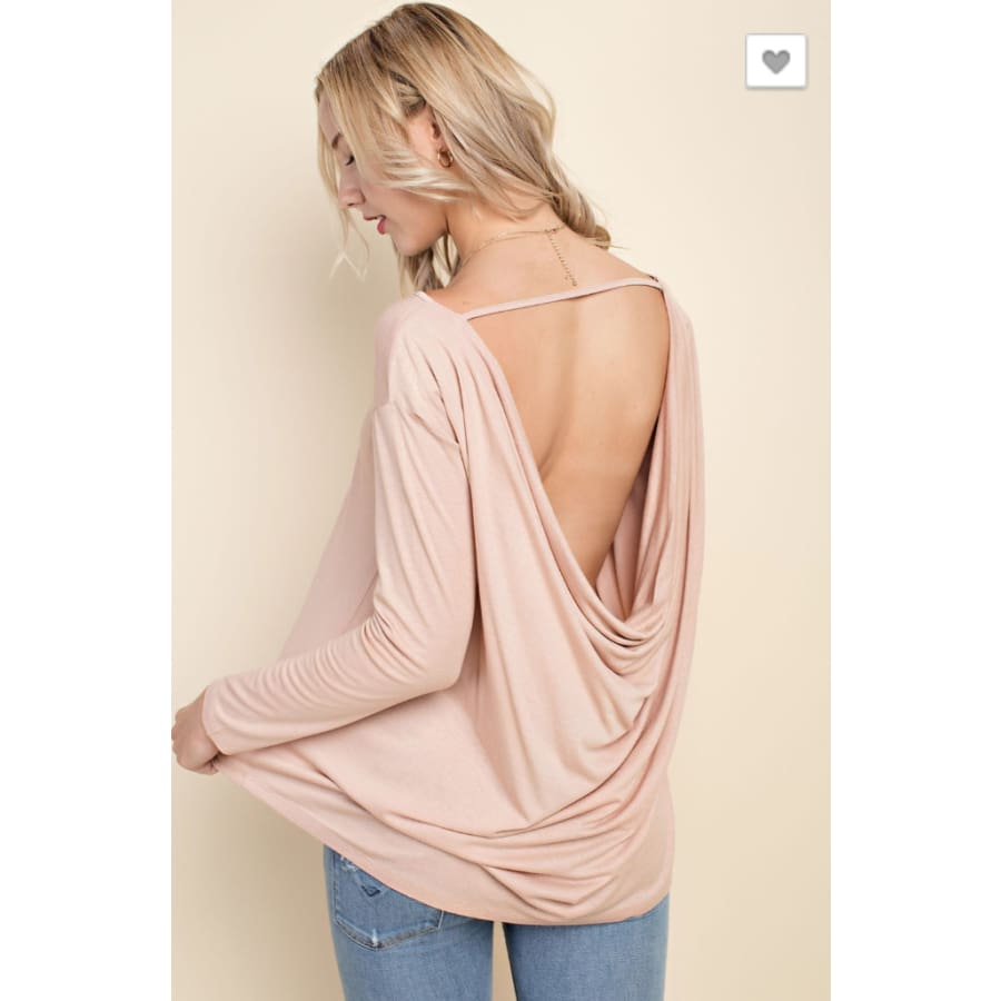 Tan Cowl Back LS - The GyPsY Barn Boutique