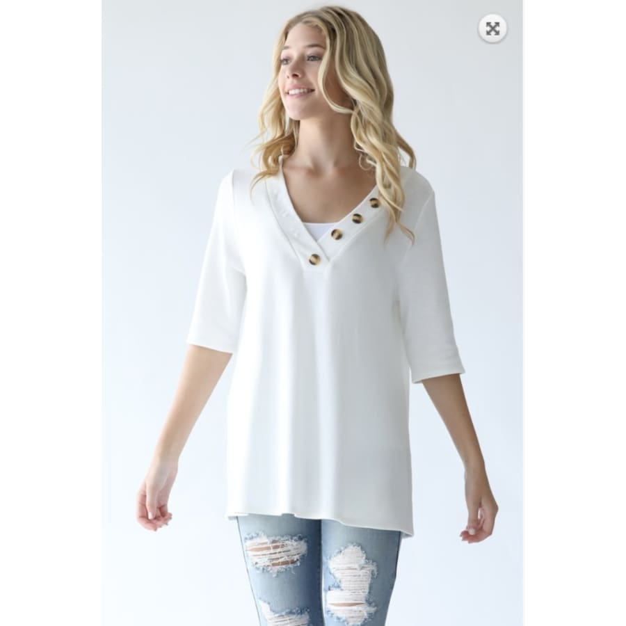 V Neck Button Detail Tunic - The GyPsY Barn Boutique