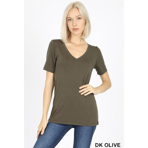 VNeck Basic Tee Dk Olive - The GyPsY Barn Boutique