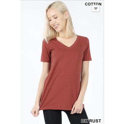 VNeck Basic Tee Dk Rust - The GyPsY Barn Boutique