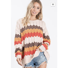 Wave Rust Stripe Sweater - The GyPsY Barn Boutique