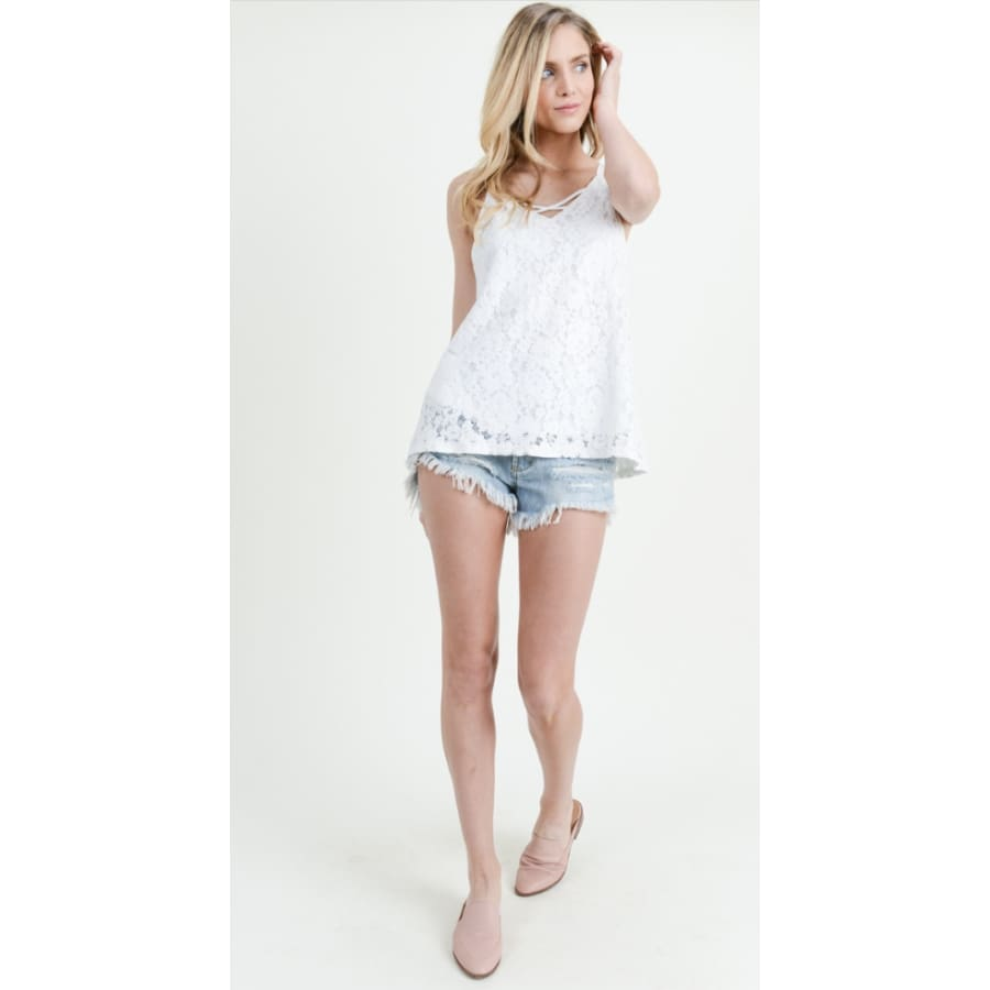 White Scallop Tank - The GyPsY Barn Boutique
