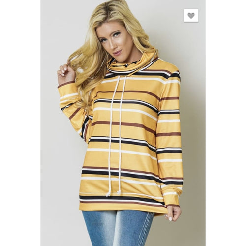 Yellow Stripe Sweatshirt - Small - Tops
