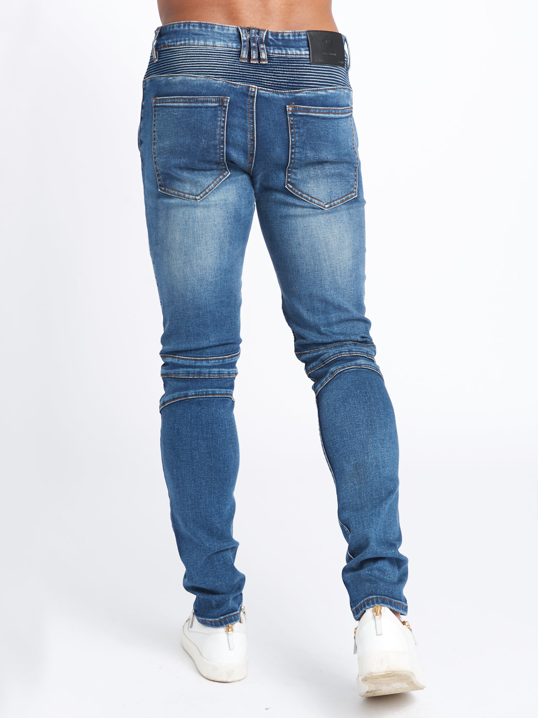 DISTRESSED BIKER DENIM