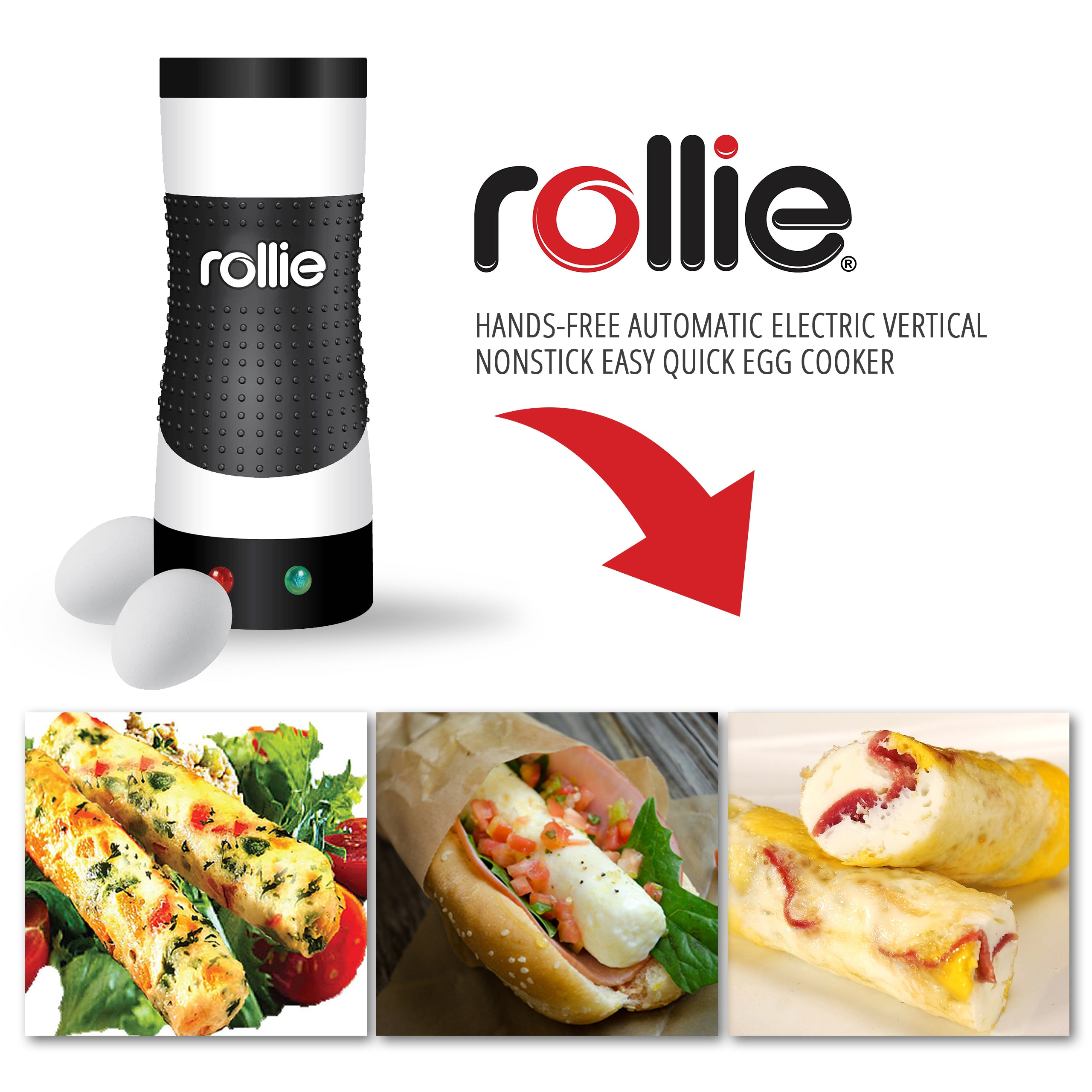 Rollie Egg Cooker. Hands-Free Automatic Electric fast and easy Egg Cooker