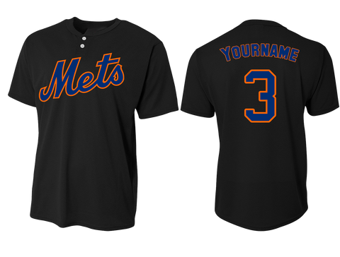 Custom Mens Senior League Baseball Jersey | Mets | Black