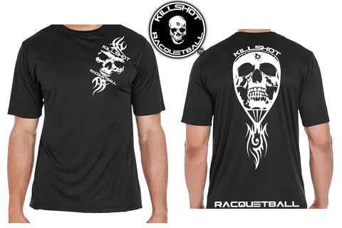 Killshot Racquetball |Tribal FrontSkull Racquet Performance T- Short Sleeve