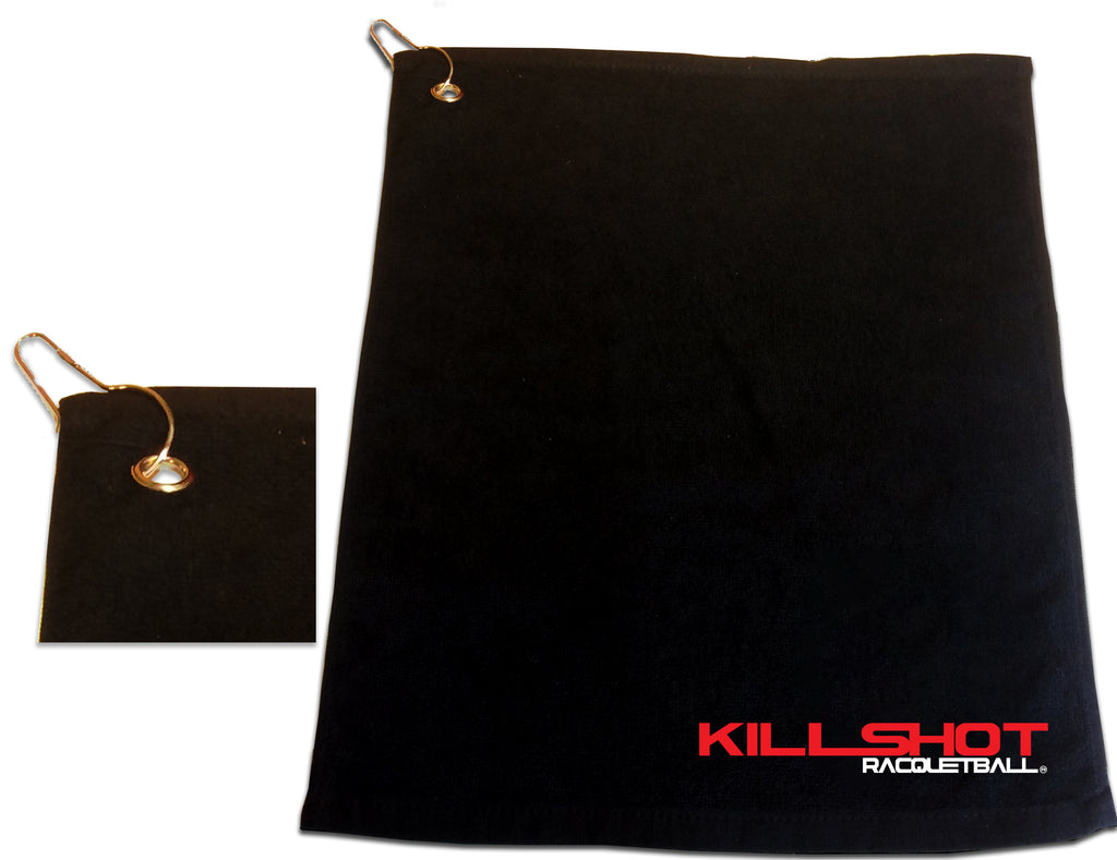 Killshot Racquetball | Racquetball Bag |  Rally Towel with Clip | Large | Killshot Logo
