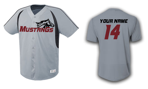Custom Mens Senior League Baseball Jersey | Mustangs | Grey Button Down