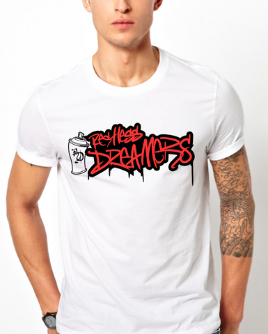 Restless Dreamers | Cotton White T-Shirts | Graffiti Style Paint