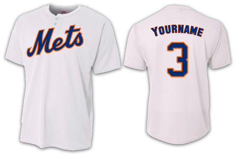 Custom Mens Senior League Baseball Jersey | Mets | White