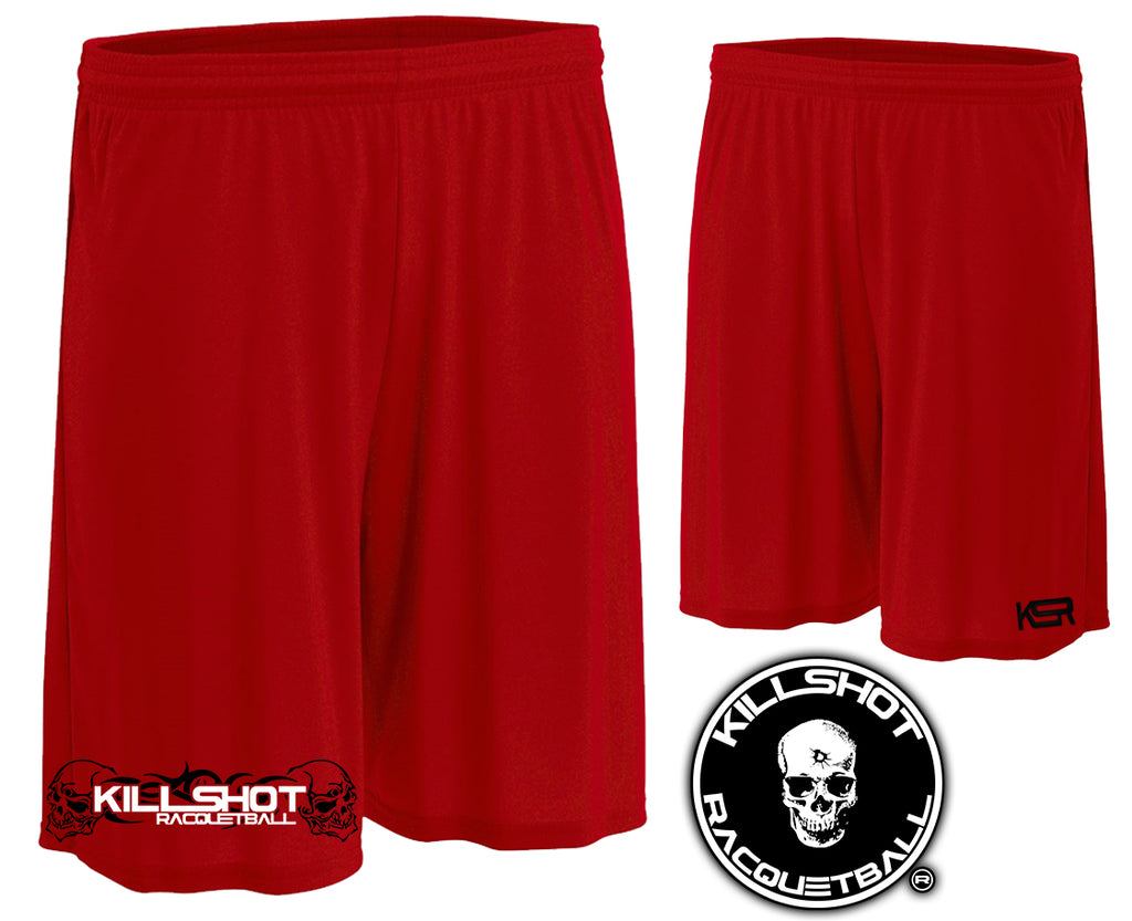 "Killshot Racquetball | Skull Tribal Shorts | Red |Cooling Performance Shorts Red 9"" inseam"
