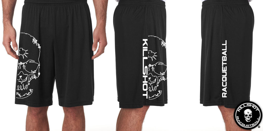 "Killshot Racquetball Performance short| 9"" Seam Half Skull"