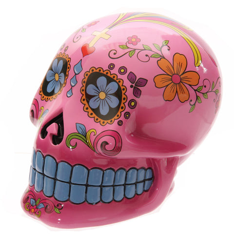 Large Pink Candy Skull Day of the Dead Ceramic Money Box
