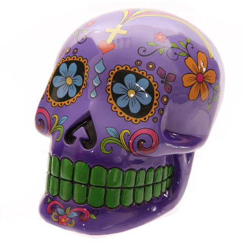Large Purple Candy Skull Day of the Dead Ceramic Money Box