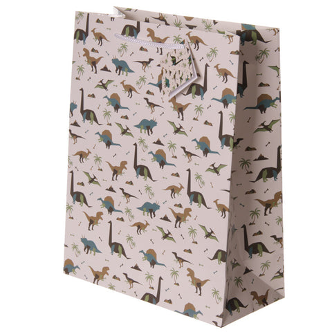 Fun Dinosaur Print Large Glossy Gift Bag