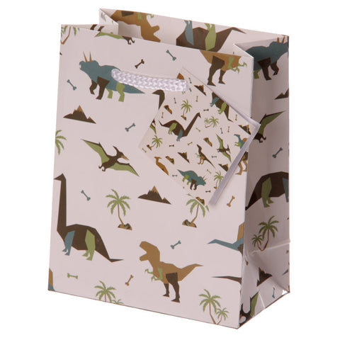 Fun Dinosaur Print Small Glossy Gift Bag