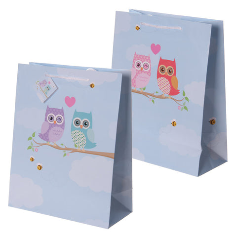Fun Love Owls Print Large Glossy Gift Bag