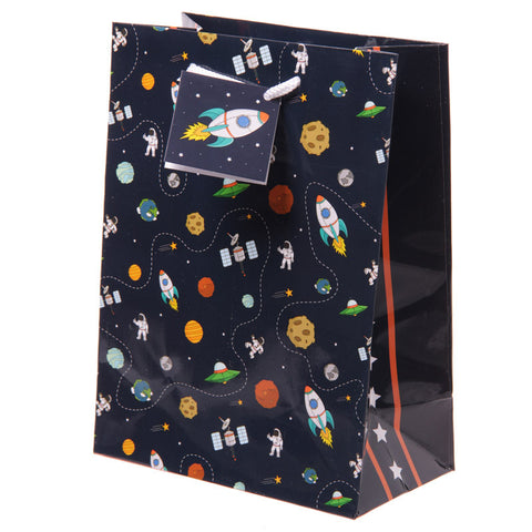 Fun Space Theme Medium Glossy Gift Bag