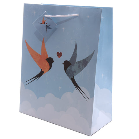 Swallows Design Large Glossy Gift Bag