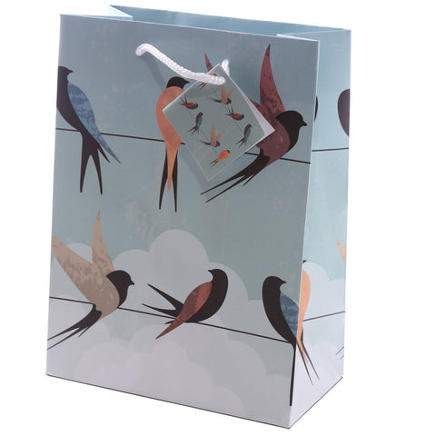 Swallows Design Medium Glossy Gift Bag