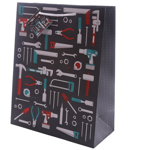 Fun Dad Tool Design Large Glossy Gift Bag